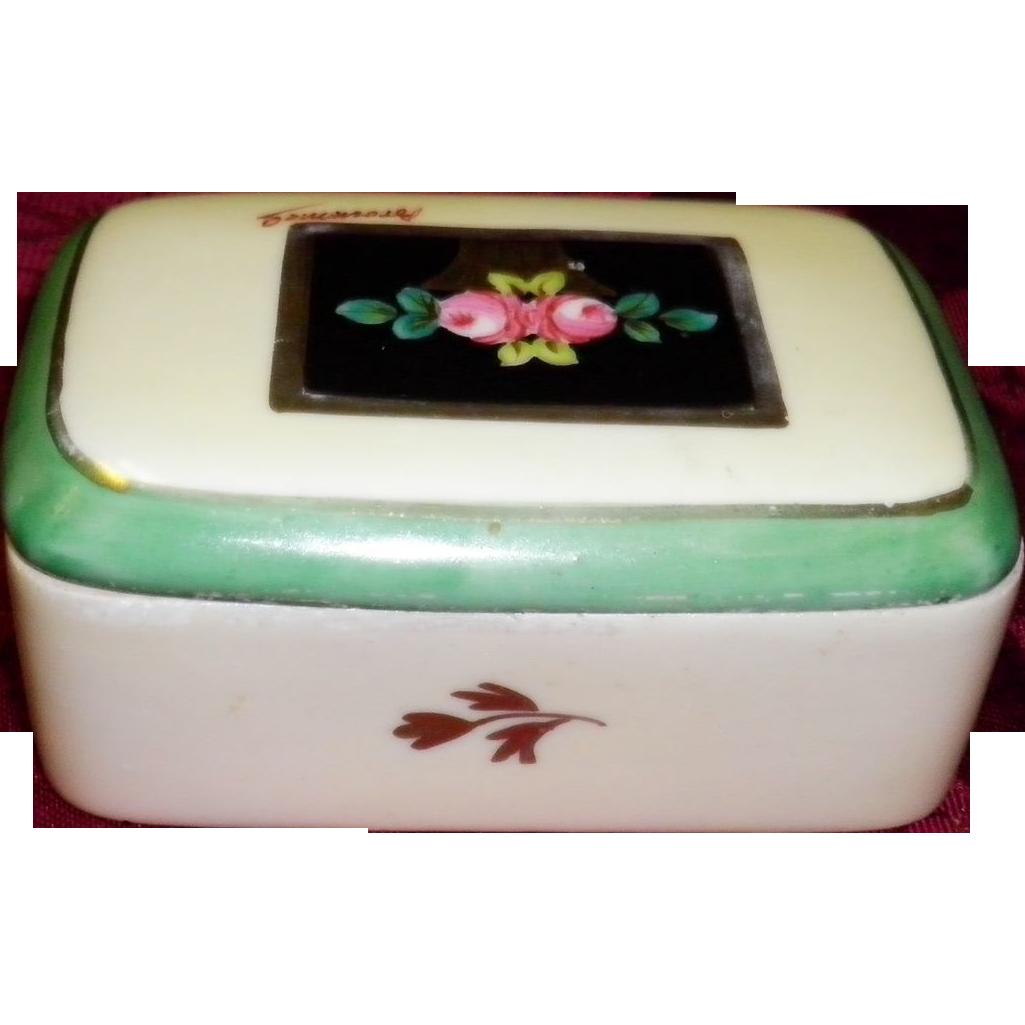 FBS France Hand Painted Porcelain Trinket / Casket Box Signed Brommel