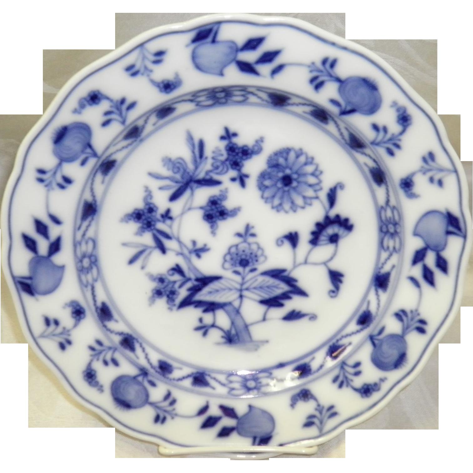 """9.5"""" Blue On White Onion Pattern Meissen Plate"""