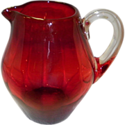 Blenko Amberina Ribbed Pitcher