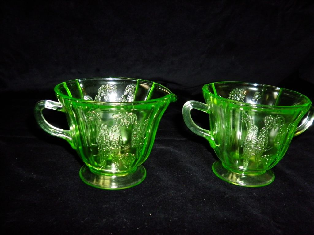 Federal Sylvan Green Vaseline Parrot Glass Cream and Sugar Bowls
