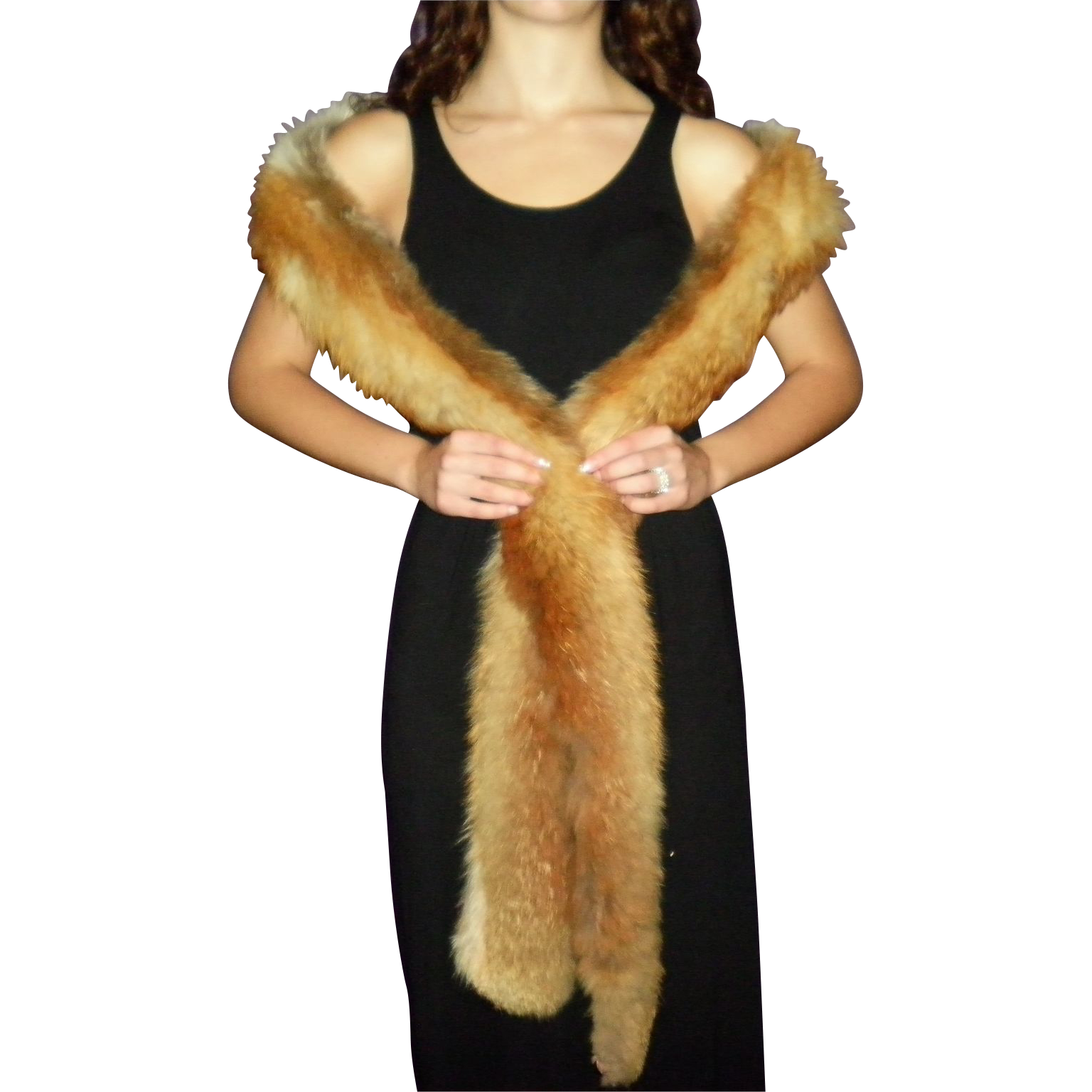 "98"" Fox Fur Wrap Stole Shawl Boa"