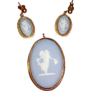Vintage Wedgwood Jasperware Cameo Van Dell 12k Gold Filled Brooch Pendant Pin & Earrings Set