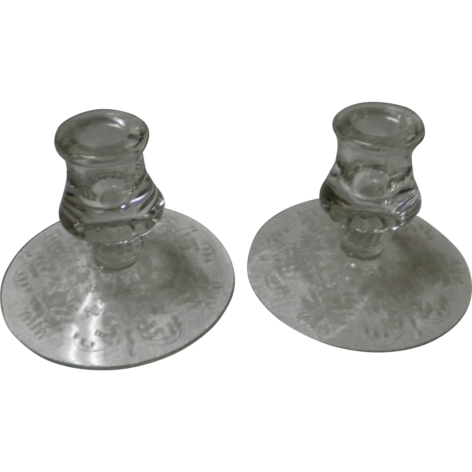 Pair Of Fostoria Etched Glass Candlesticks