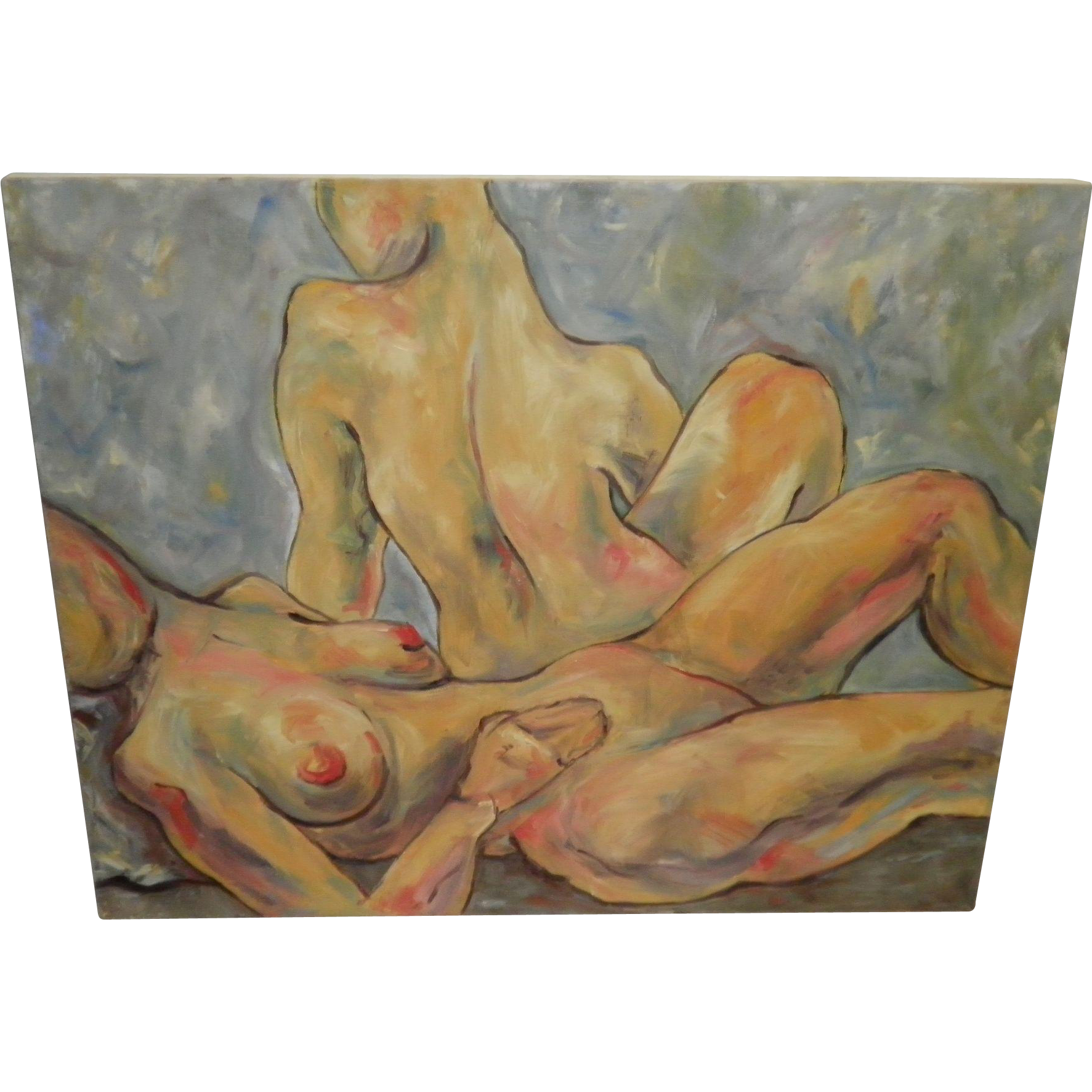 Oil On Canvas Nude Abstract Painting Signed Westre