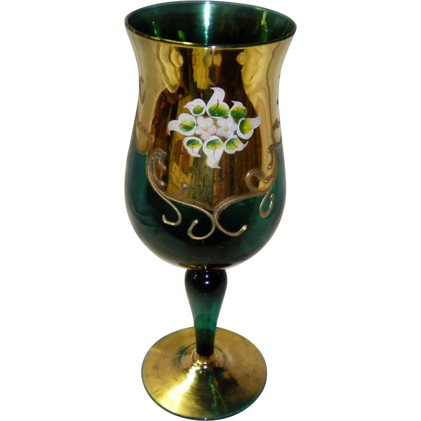 Hand Painted Bohemian Glass Chalice / Goblet