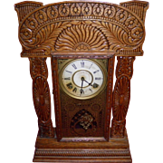 Antique Ingraham Gingerbread Mantel Clock With Key