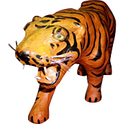Leather Over Paper Mache Tiger Figure With Glass Eyes