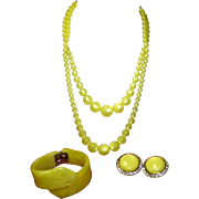 Vintage Yellow Lucite Necklace Hinged Bracelet And Earrings Set