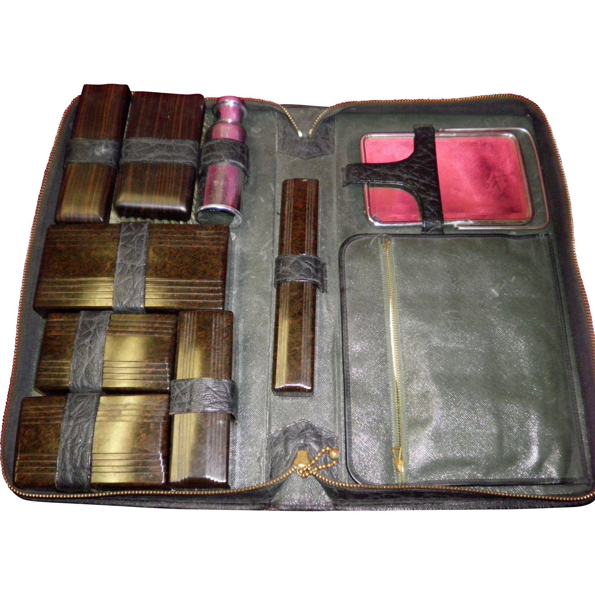 Vintage 16 Piece Travel Grooming Set In Case