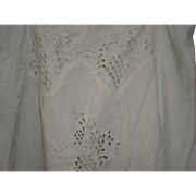 Victorian Linen Skirt With Eyelet Cut Work