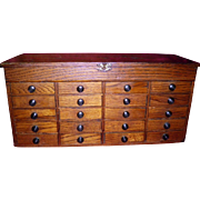 Antique 20 Drawer Wood Tabletop Dental Cabinet
