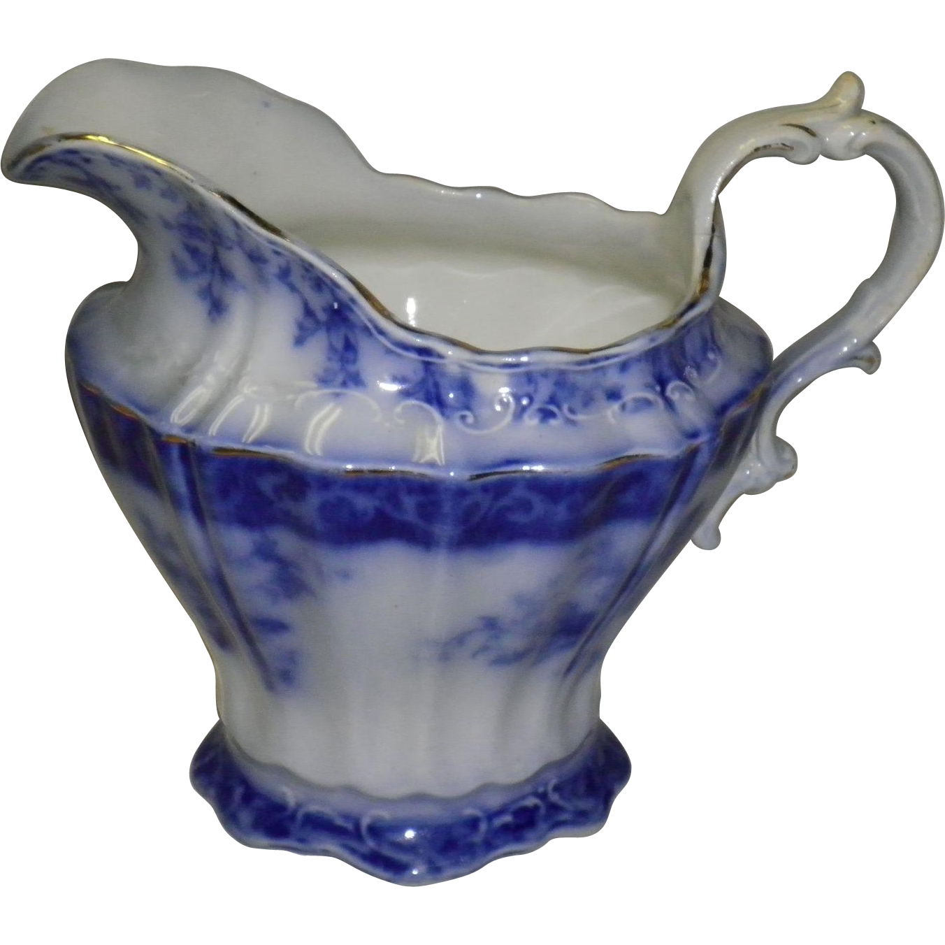 Touraine Milk / Water Pitcher Flow Blue China 1898 Henry Alcock 329815