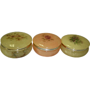 Set of 3 Round Alabaster Boxes Italy