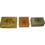 Set of 3 Alabaster Trinket / Dresser Boxes Italy