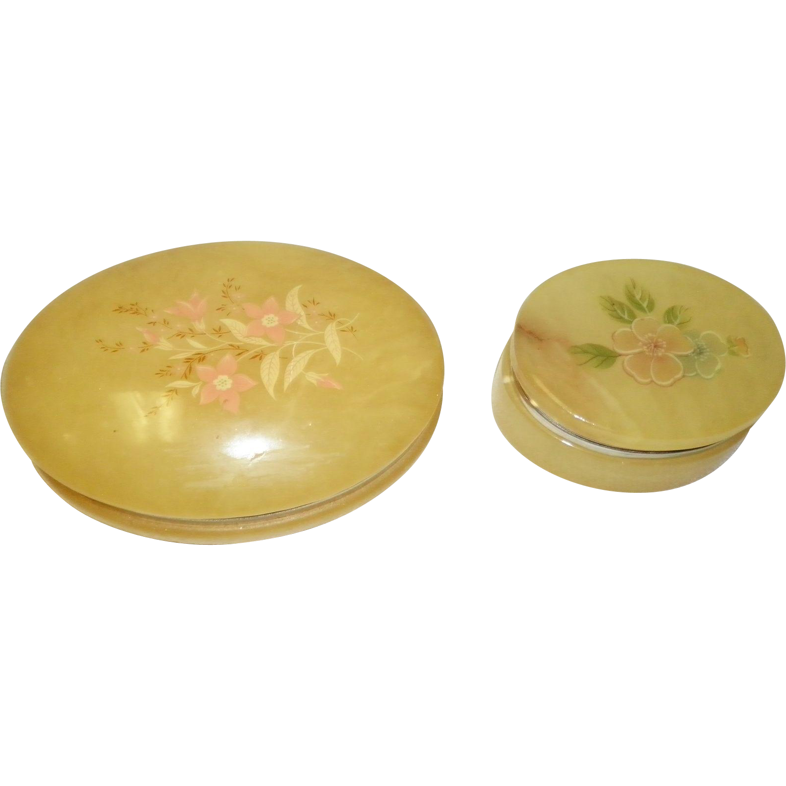 Set of 2 Oval Alabaster Trinket / Dresser Boxes Italy