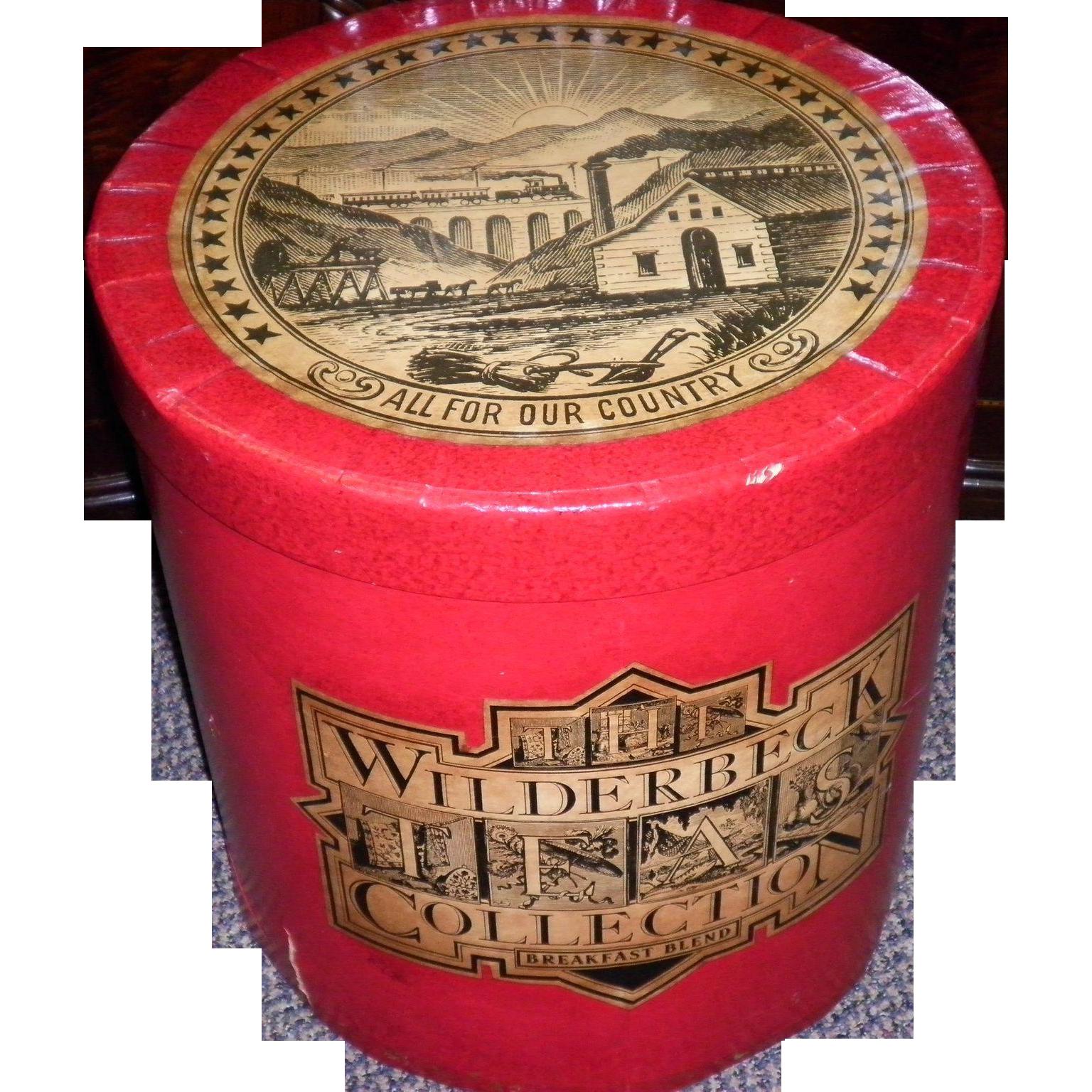 "Vintage ""Wilderbbeck Tea"" Waxed Cardboard Container / Bin / Box"