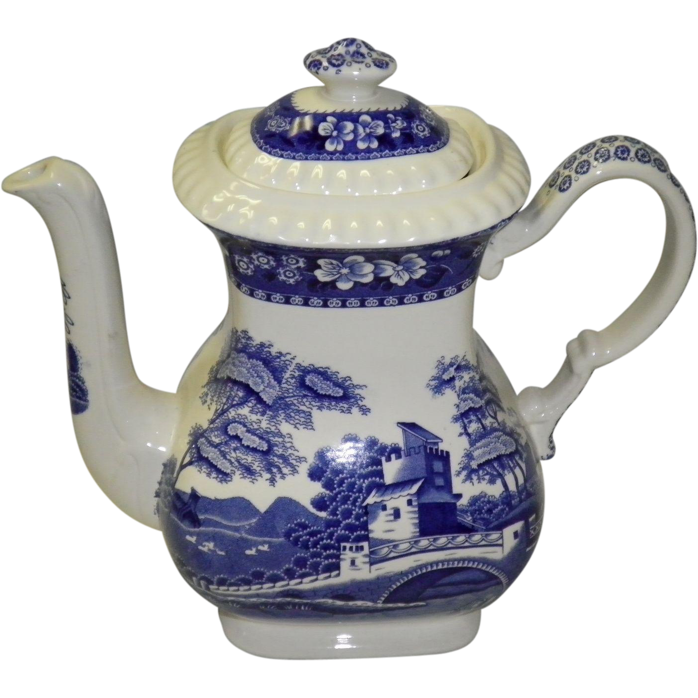 Spode Blue Tower Coffee Pot