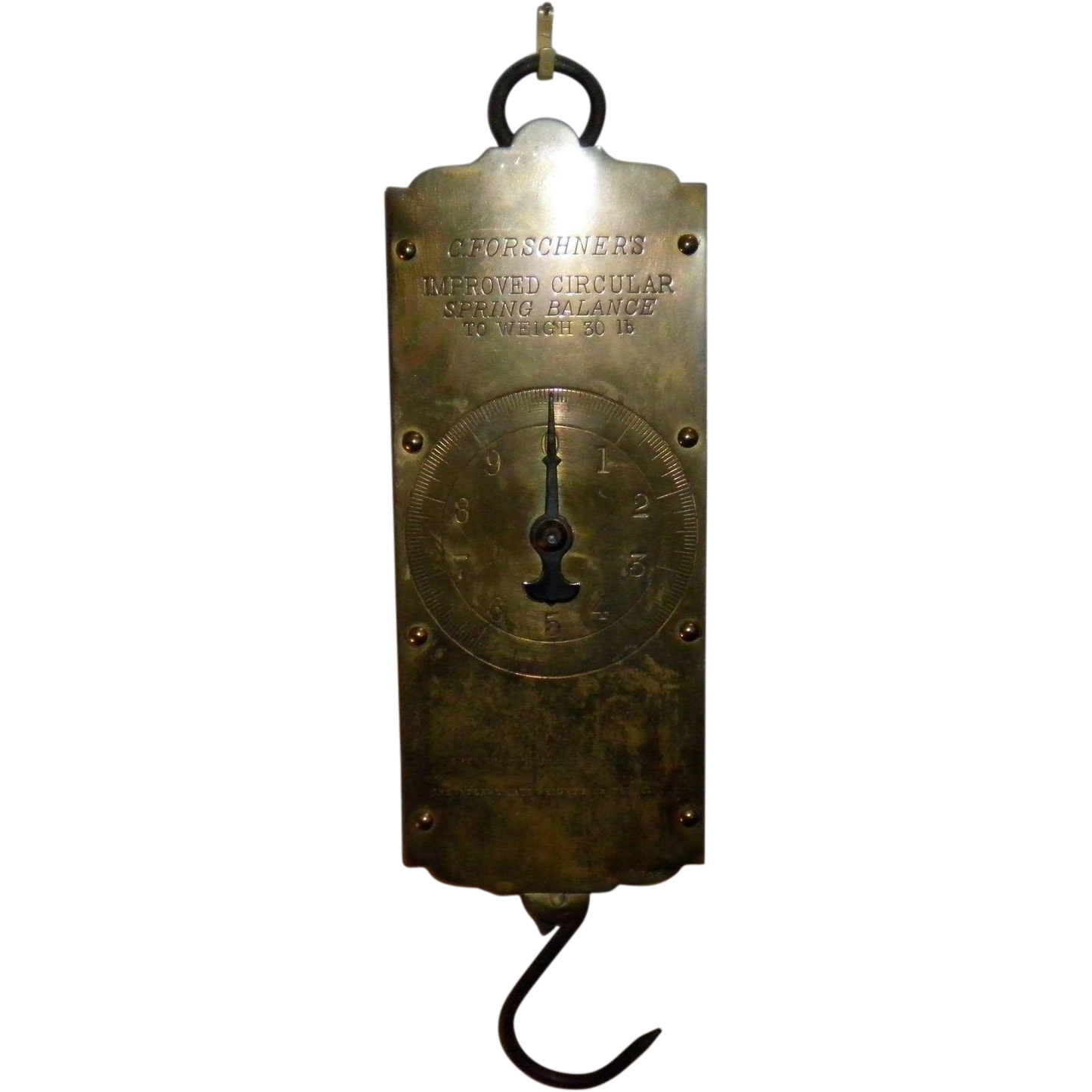 Vintage C. Forschners 30 Pound Brass Circular Spring Balance Scale