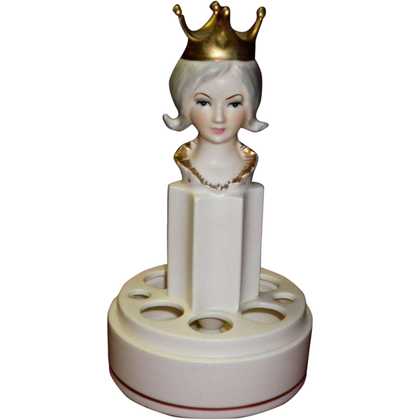 Vintage Porcelain Lipstick Holder / Queen Figurine