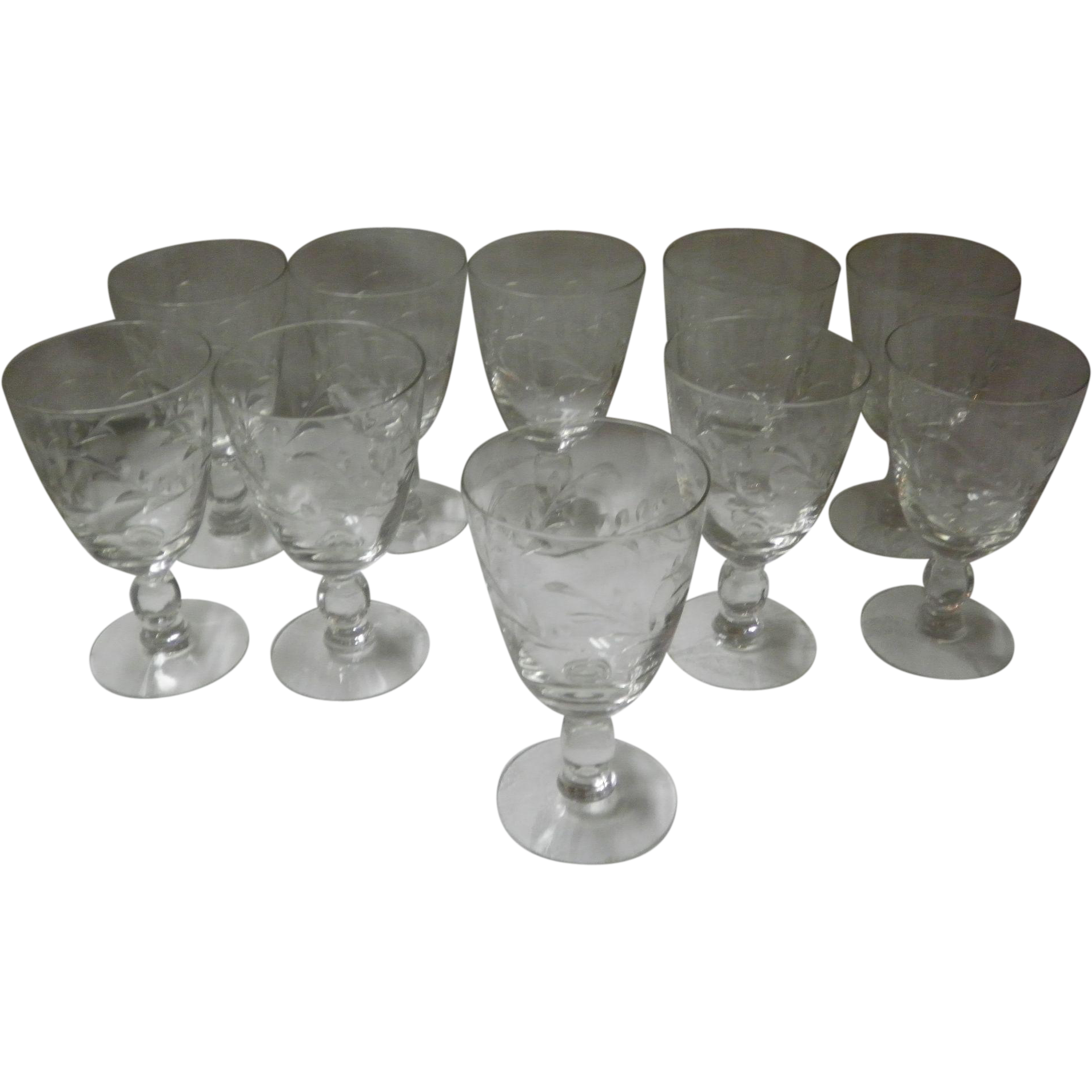Set Of 10 Heisey Southwind Water Goblets