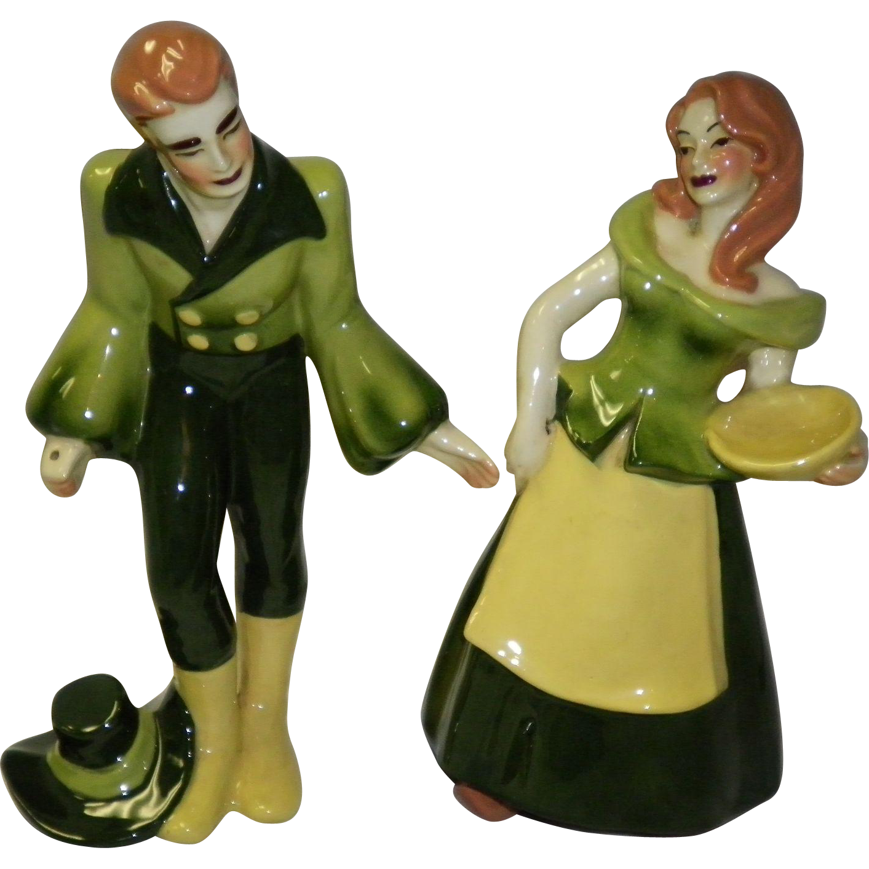 Ceramic Art Studio Figurines Shepherd And Shepherdess