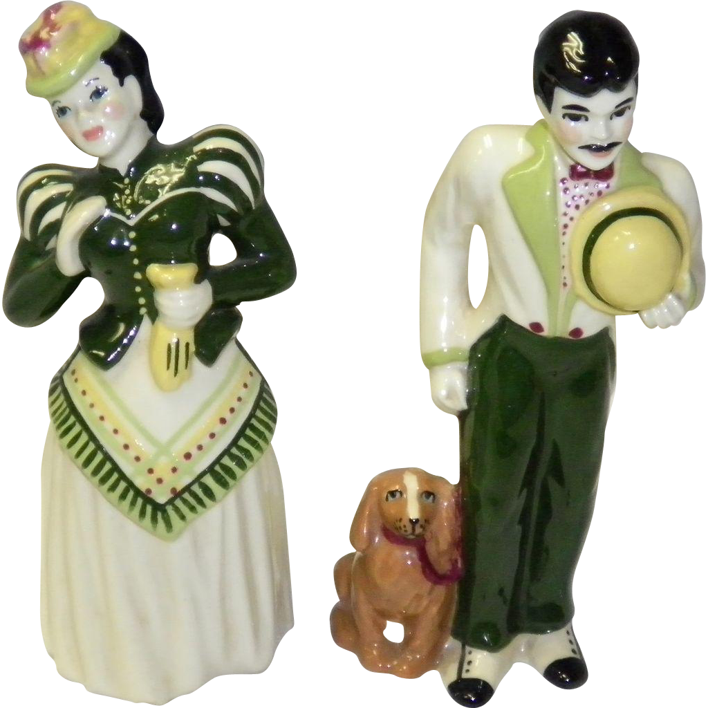 "Ceramic Art Studio Figurines ""Gay 90's Couple"""