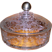 Cambridge Chantilly 3 Part Candy Box / Bowl With Lid And Sterling Knob