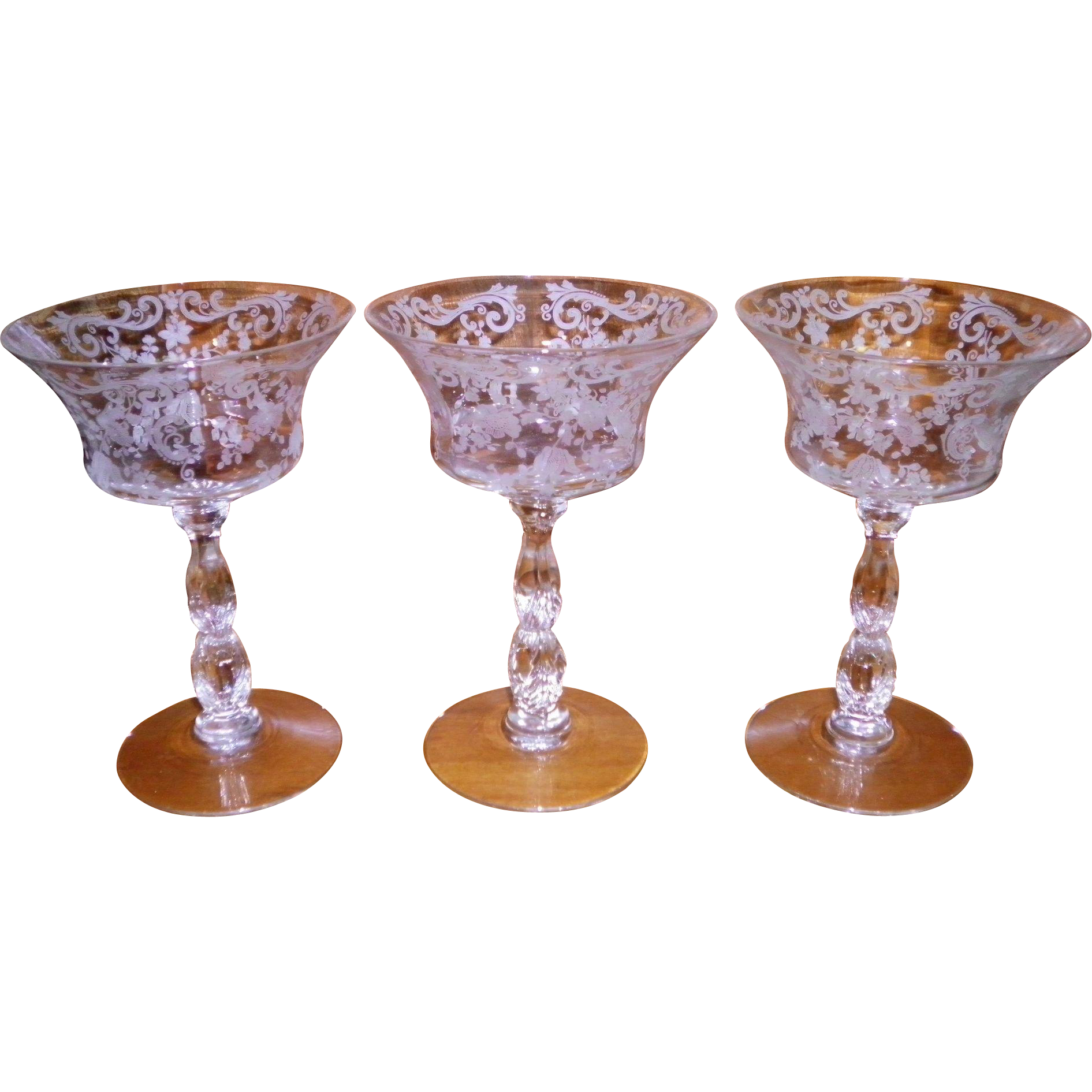 Set Of 3 Cambridge Chantilly Champagne / Tall Sherbert Glasses