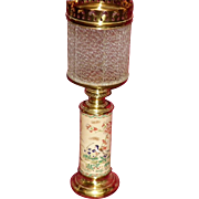 19th Century Oriental Vase Oil Lamp With Ribbed Glass Shade