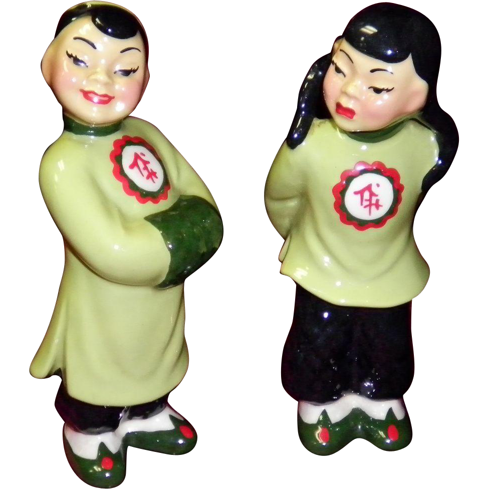 "Ceramic Art Studio Figurines ""Asian Couple Mo-Pi & Smi-Li"""