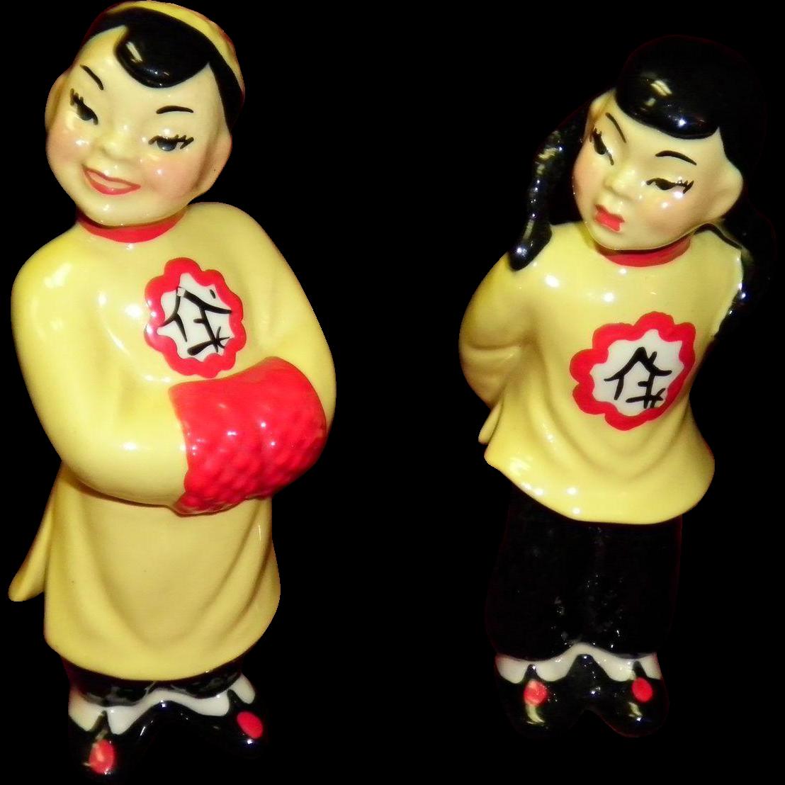 "Ceramic Art Studio Figurines ""Asian Couple Mo-Pi & Smi-Li"" In Yellow"