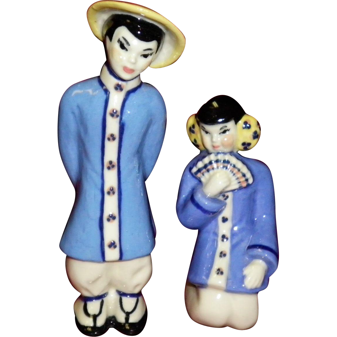 "Ceramic Art Studio Asian Couple Figurines ""Ting-A-Ling & Sung-Tu"""