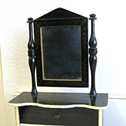 Antique toy miniature furniture Kestner German Boule antique black gilt stenciled Dresser