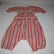 Vintage cotton Red & white  jumper for antique baby doll