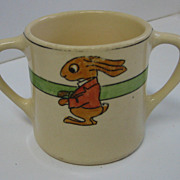 Roseville Juvenile child's TWO-HANDLED mug with the dressed RABBIT