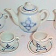 German Blue Onion antique toy tea set small scale