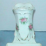 RS Prussia pink roses antique hatpin holder & ring holder