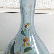 Blue luster painted floral antique glass barber bottle