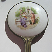 Antique Victorian decorative Victorian Ladies porcelain bronze hand mirror