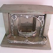 Antique doll house miniature tin nickel plated fireplace c1900