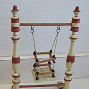 Antique German doll miniature wood colorful swing