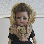 Antique bisque dollhouse glass eye doll Breton