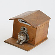 Antique German wood dog house ceramic dog coin bank