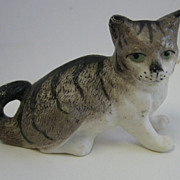 Antique miniature ceramic grey cat sitting