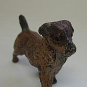 Antique metal miniature brown dog