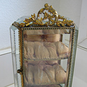 Antique French ormolu decorative display beveled glass jewelry casket vitrine