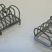 Antique German pewter doll house miniature toast rack