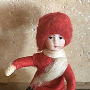 Antique German bisque cotton Christmas Heubach snowball ornament