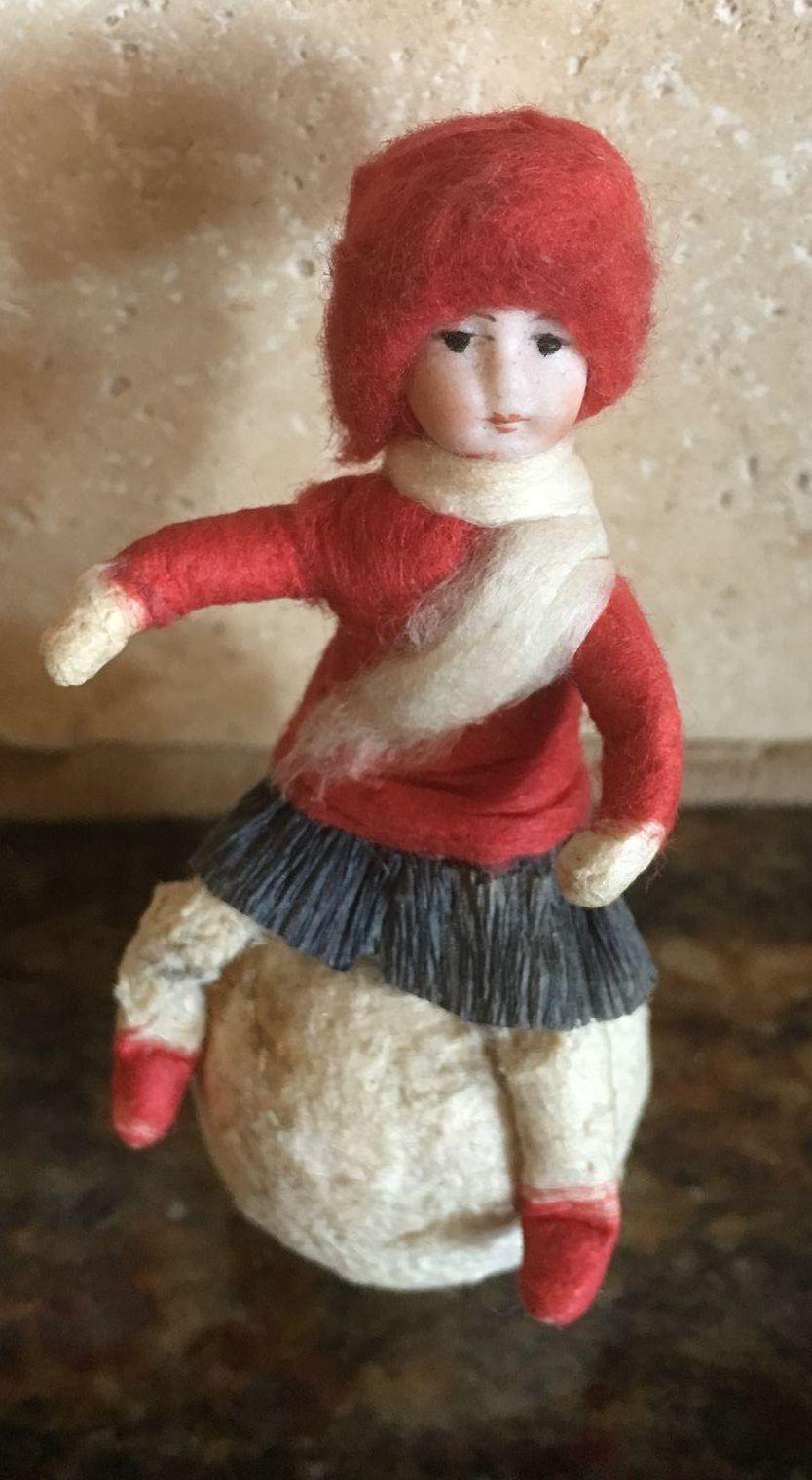 Antique German bisque cotton Christmas Heubach ornament ...