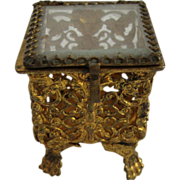 Antique miniature ormolu & glass small ring box